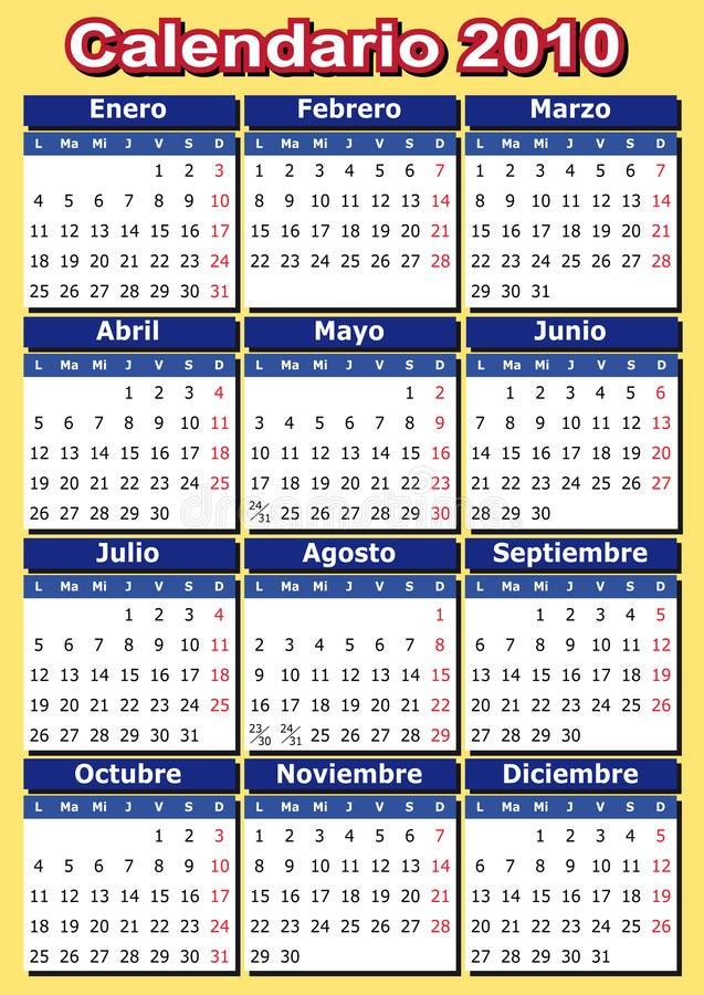 stock images spanish calendar 2010 image