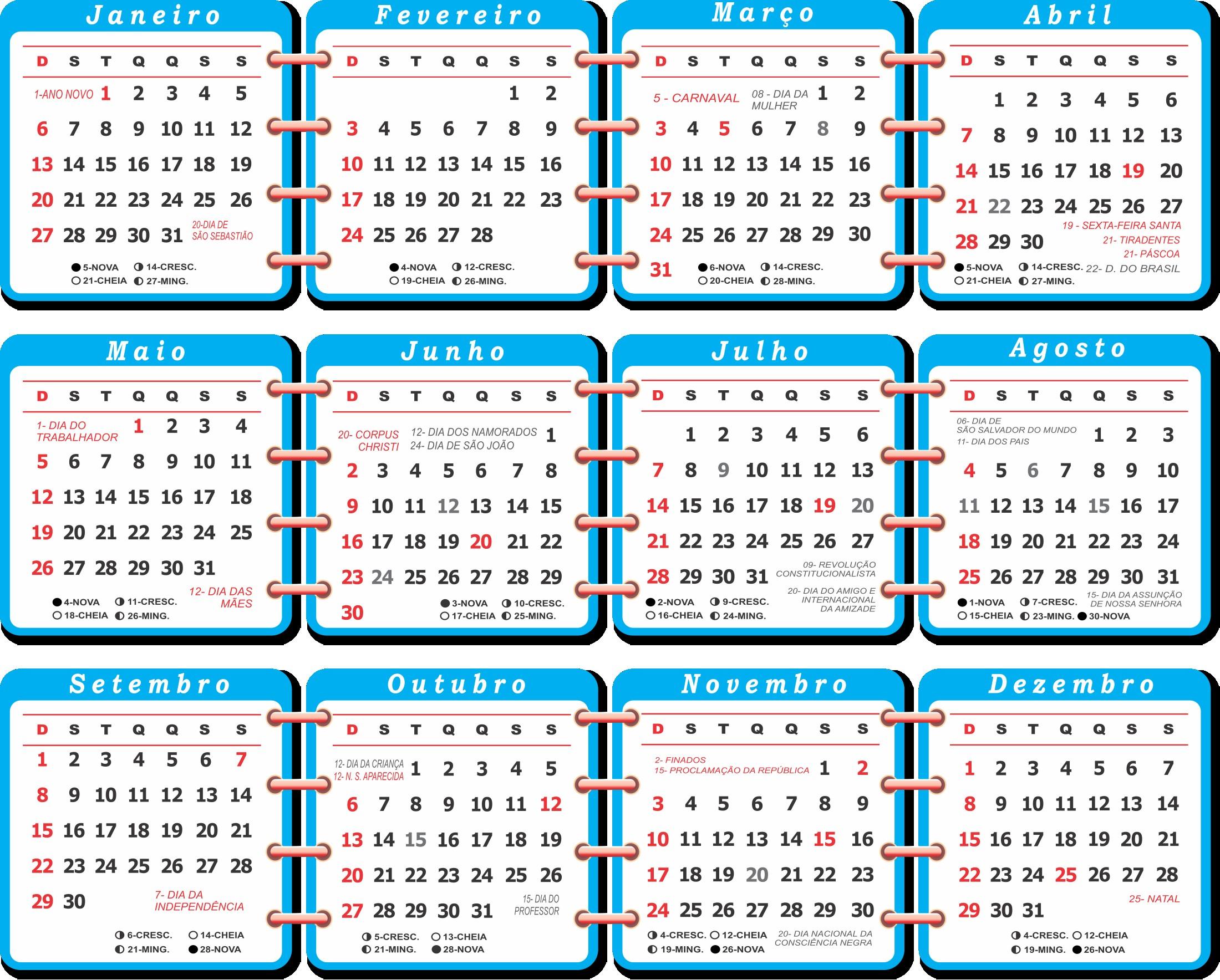 base calendario 2019 azul