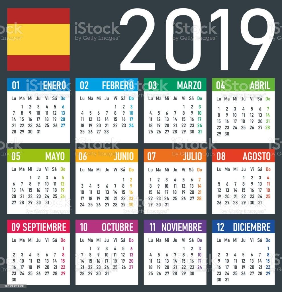 calendario 2019 ilustración vectorial versión en español gm