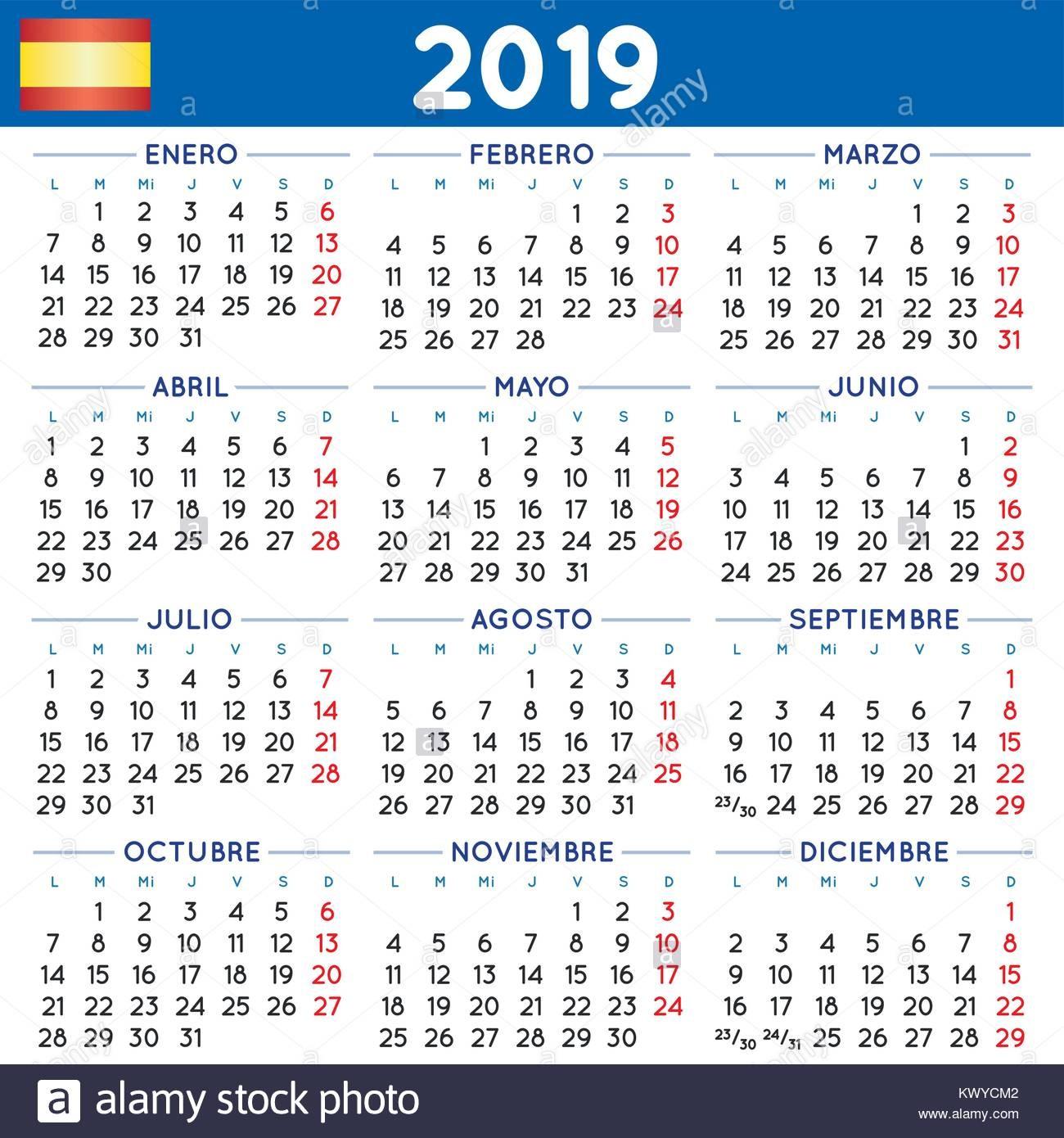 stock photo 2019 elegant squared calendar in spanish year 2019 calendar calendar