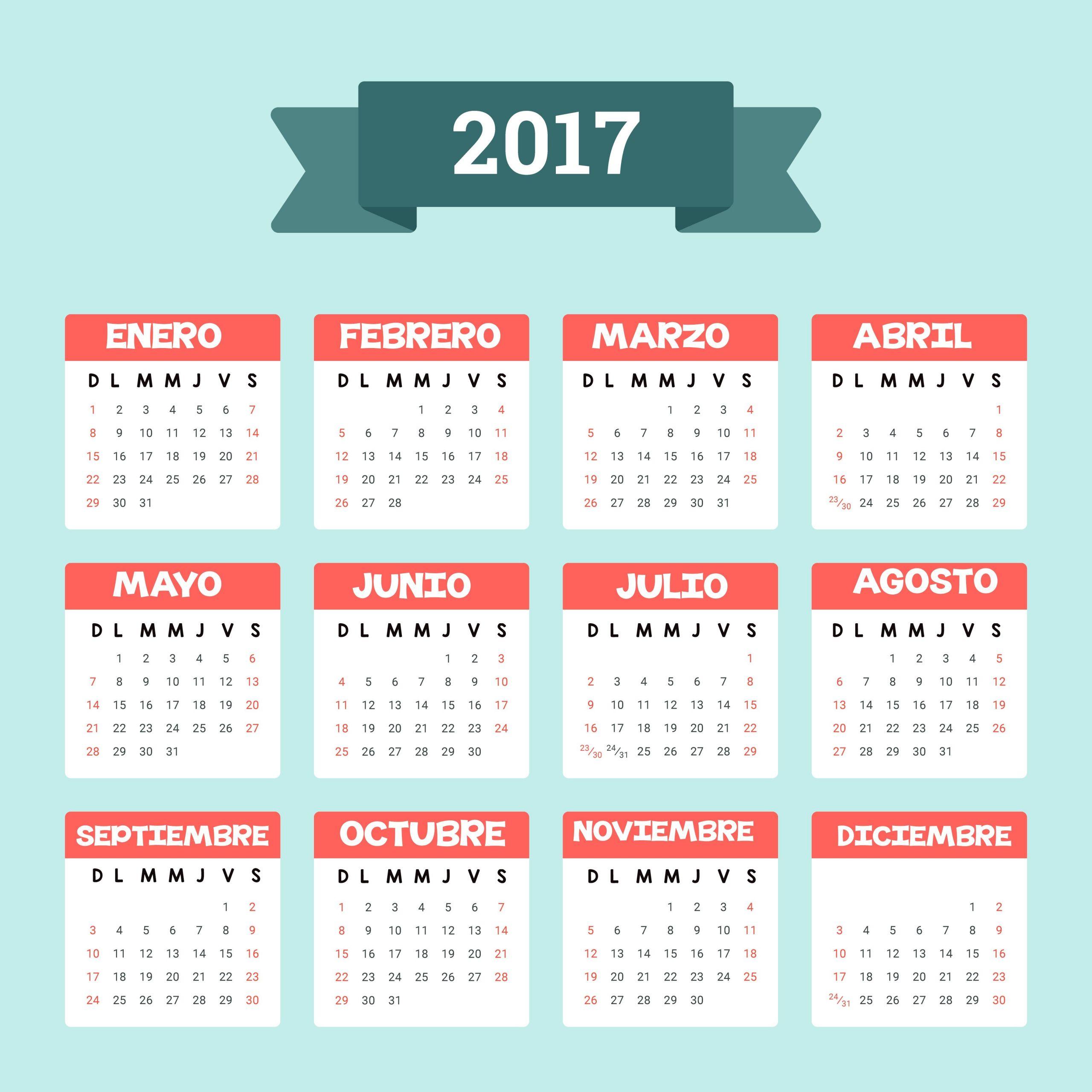 10 plantillas de calendario 2017 para imprimir