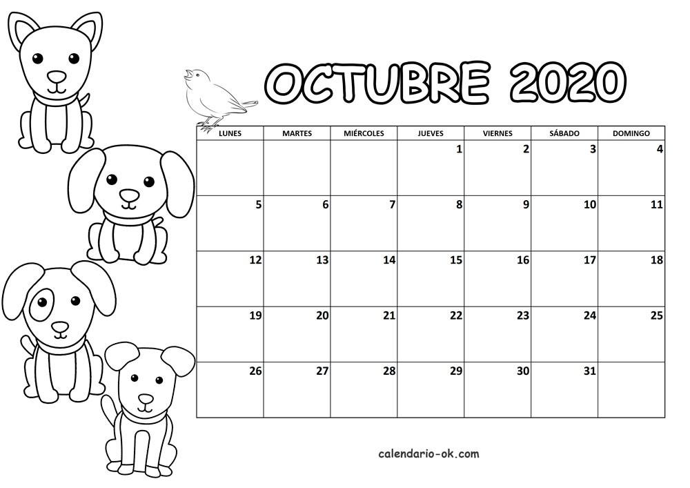 calendario octubre 2020 imprimir pdf