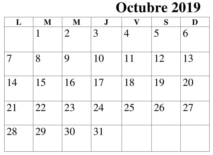 Calendarios Del Mes De Octubre Para Imprimir Mejores Y Más Novedosos Calendario 2019 Mes Octubre Para Imprimir Calendario
