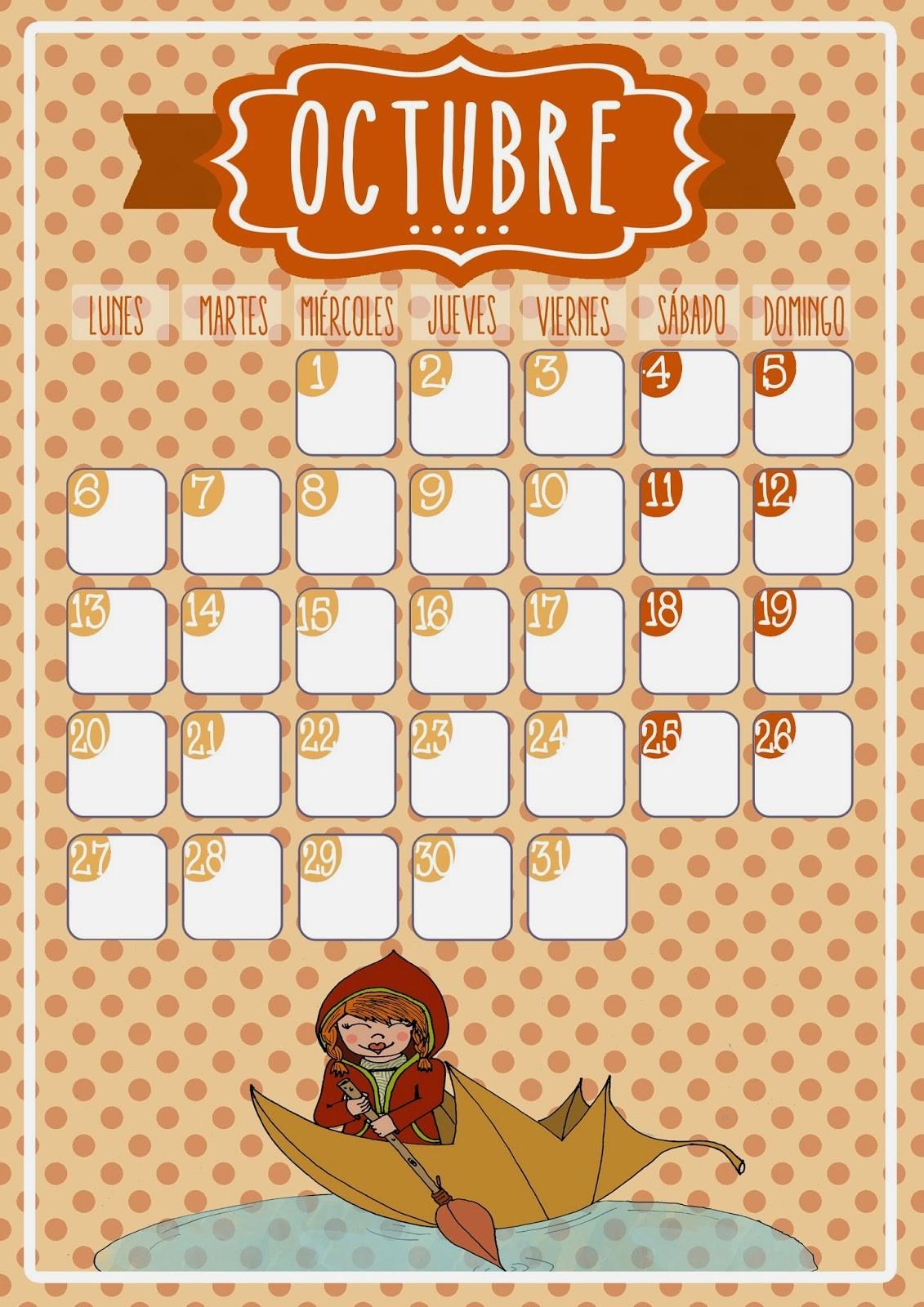 calendario mes de octubre blog lluvia de ideas ademas en catalan e ingles