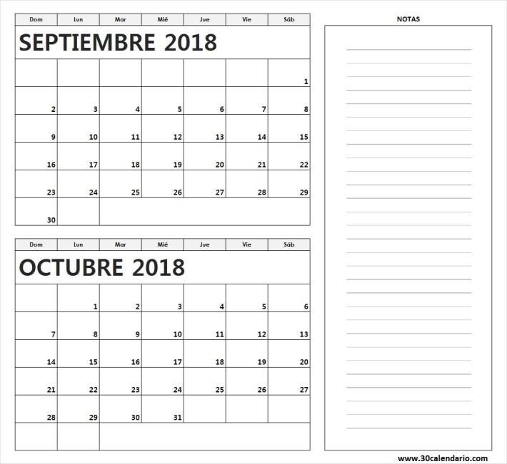 calendario septiembre octubre 2018