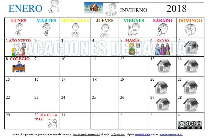 calendario mensual de enero