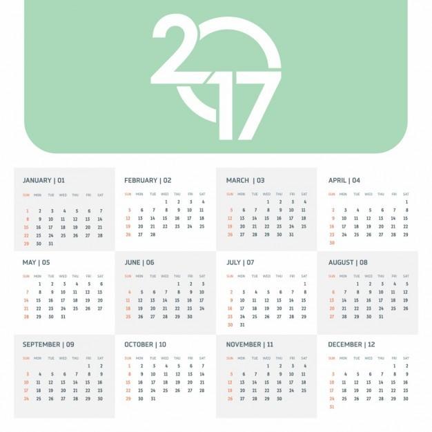 plantilla verde de calendario 2017