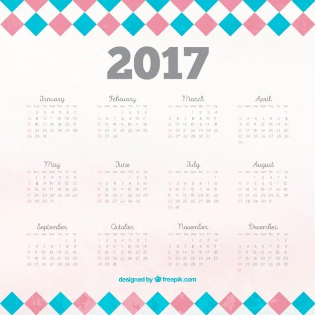 calendario de 2017 con cuadrados