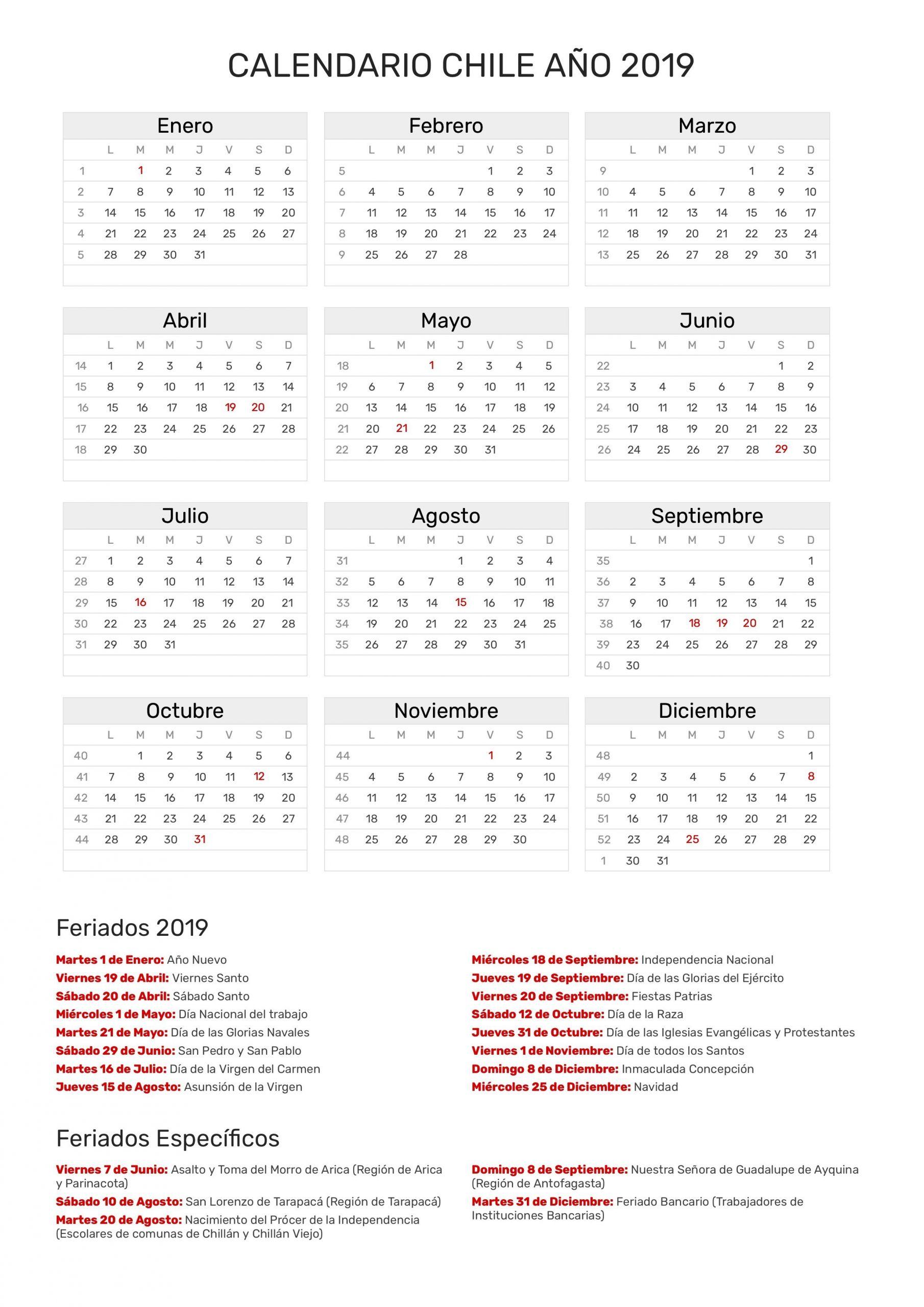 calendario 2019 colombia con festivos en excel