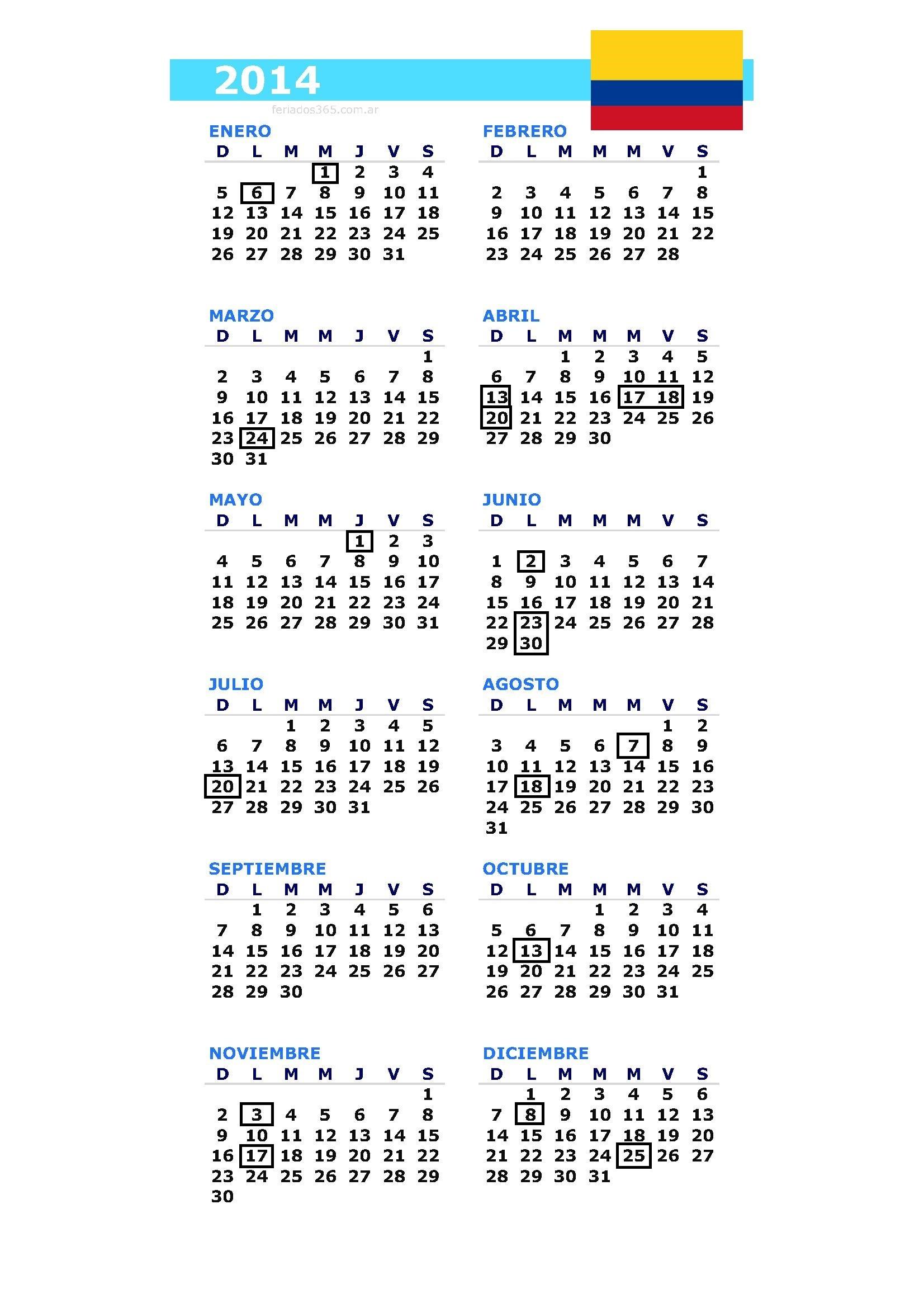 calendario y feriados colombia 2014