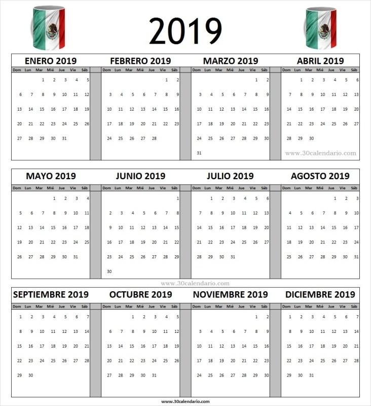 calendario 2019 mexico con dias festivos