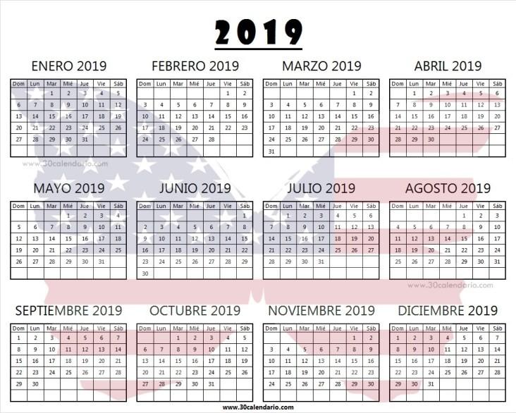 Dias Festivos En Usa 2019 Más Reciente Calendario 2019 Usa