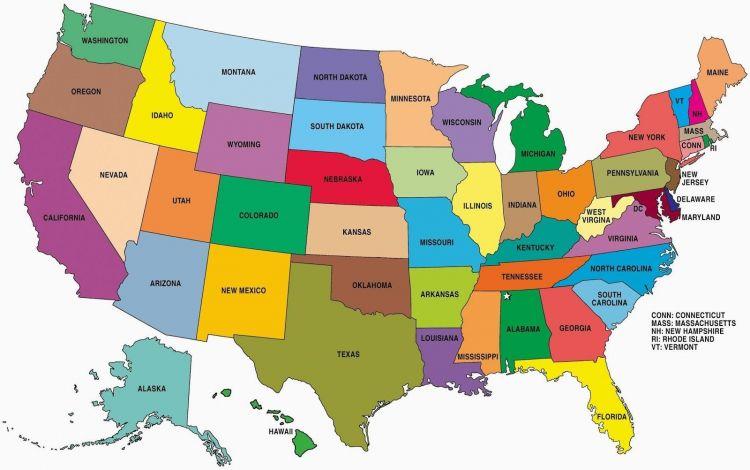 Estados Más Arriba-a-fecha Mapa De Los Estados Unidos Por El Estado Mapa De Los