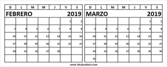 calendario mes de febrero y marzo 2019