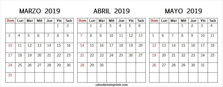 Febrero Y Marzo Calendario 2019 Recientes Calendario Marzo Abril Y Mayo 2019 En Blanco