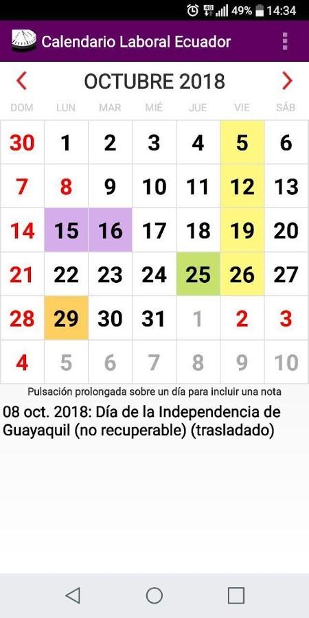 Feriados 2018 Ecuador Más Actual Calendario Feriados Y Otros eventos 2018 Ecuador android