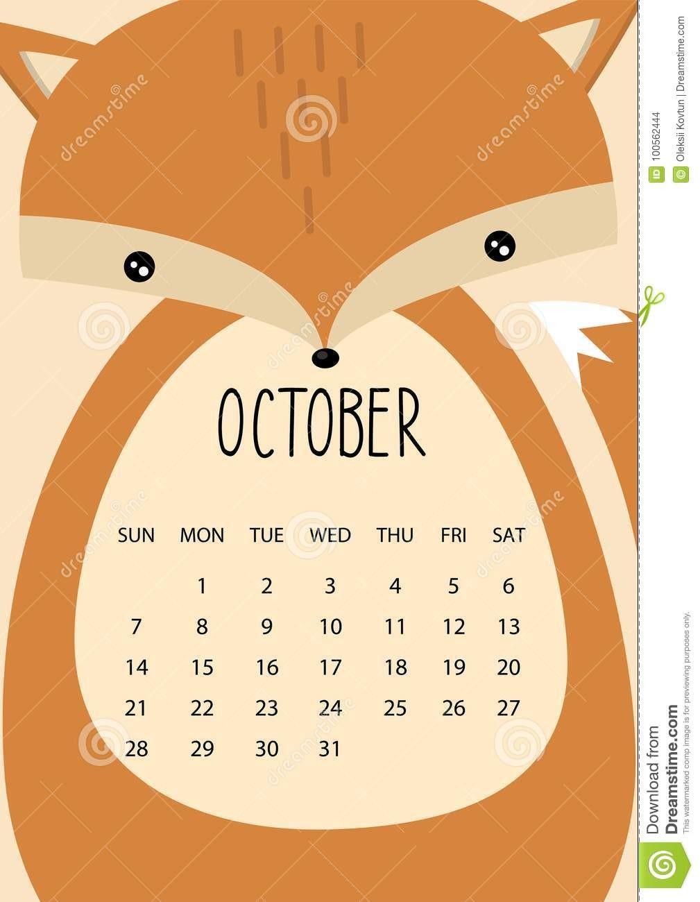 diseño lindo del calendario mes por años octubre formato vector image