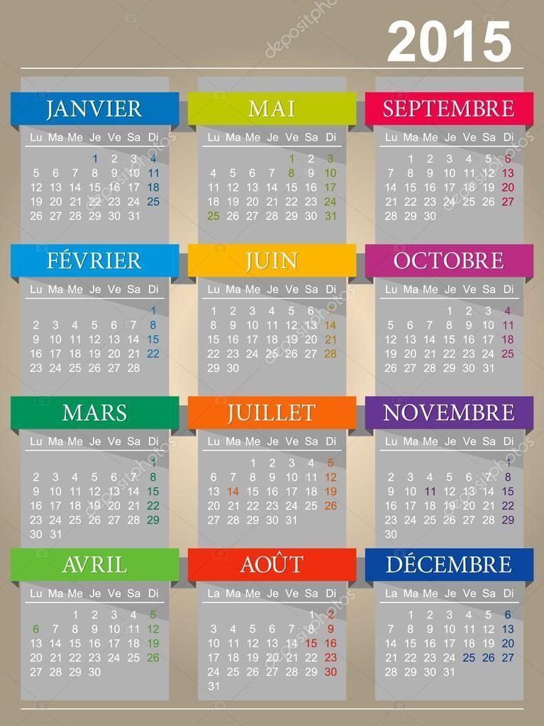 stock illustration calendar 2015