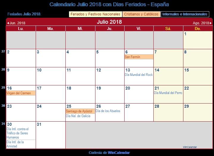 Julio Calendario Más Recientes Calendario Julio 2018 Para Imprimir España