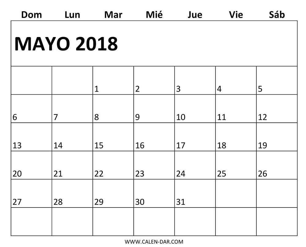 calendario mayo 2018 con festivos