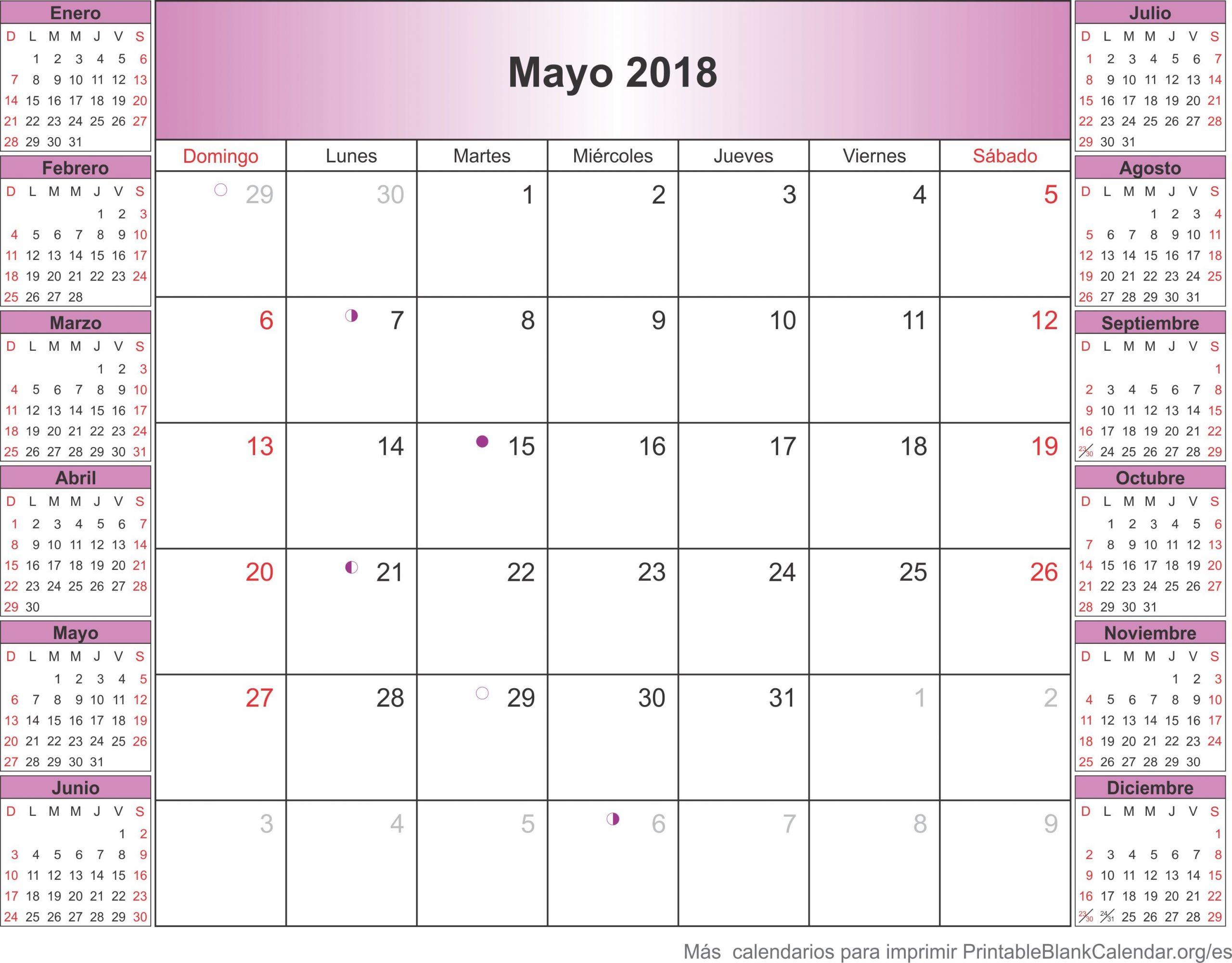 mayo 2018 calendario para imprimir