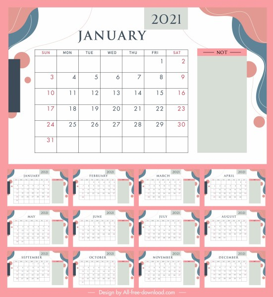 Plantilla Calendario 2021 Actual 2021 Plantilla De Calendario Brillante Colorido Decoración