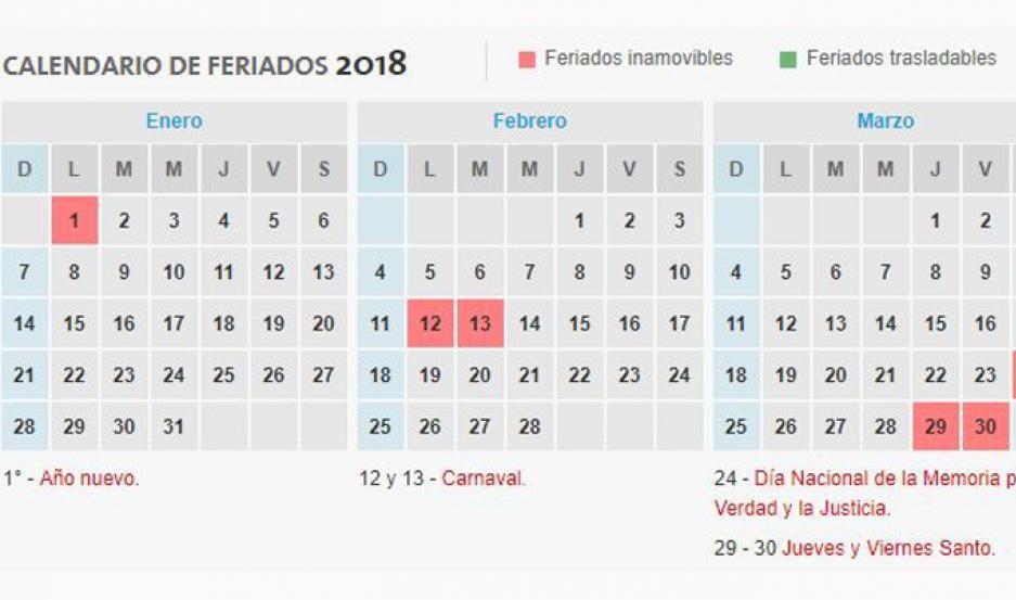 conoce feriados puente 2018