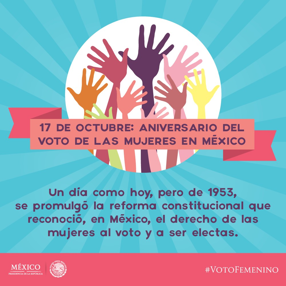 el 17 de octubre se celebra el aniversario del voto femenino en mexico