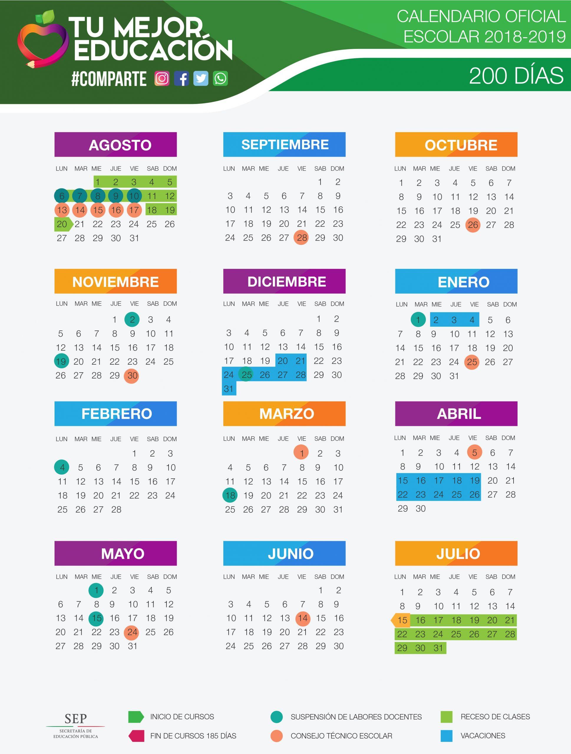 calendario oficial sep 2018 2019 tres versiones