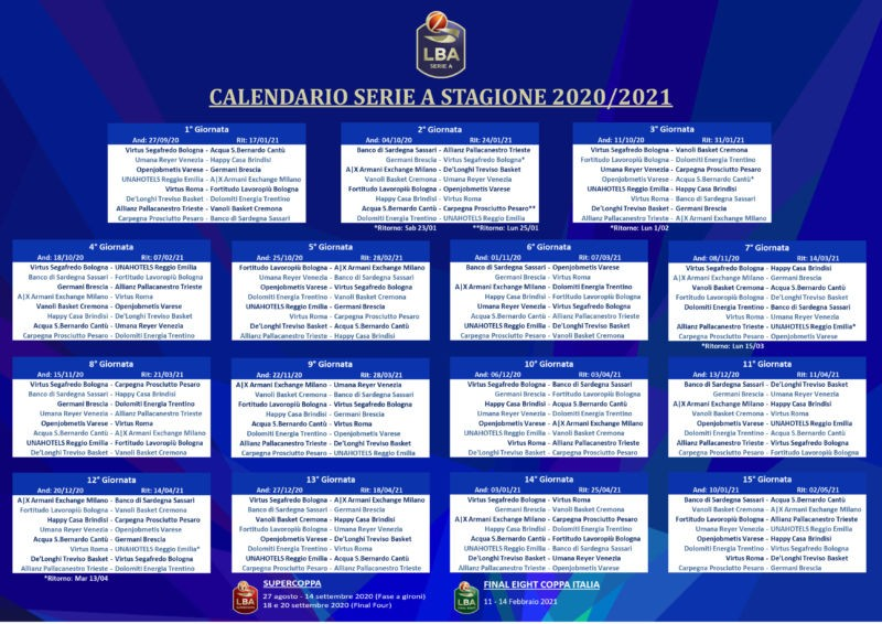 calendario lba stagione 2020 2021