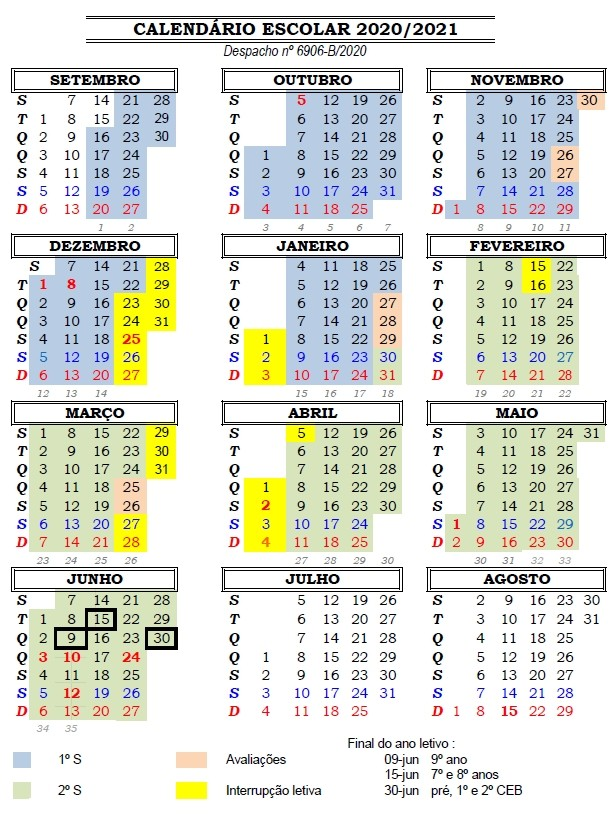 calendario escolar 2020 2021