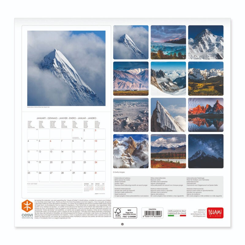 calendario da parete 2021 mountains GCAL