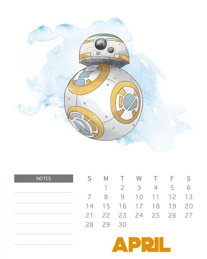 free printable 2019 star wars calendar