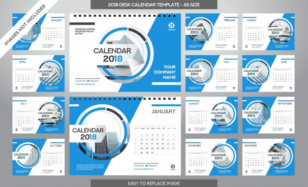 desk calendar 2018 template 12 months included a5 size art brush theme