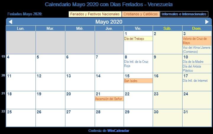 calendario 2020 con festivos venezuela