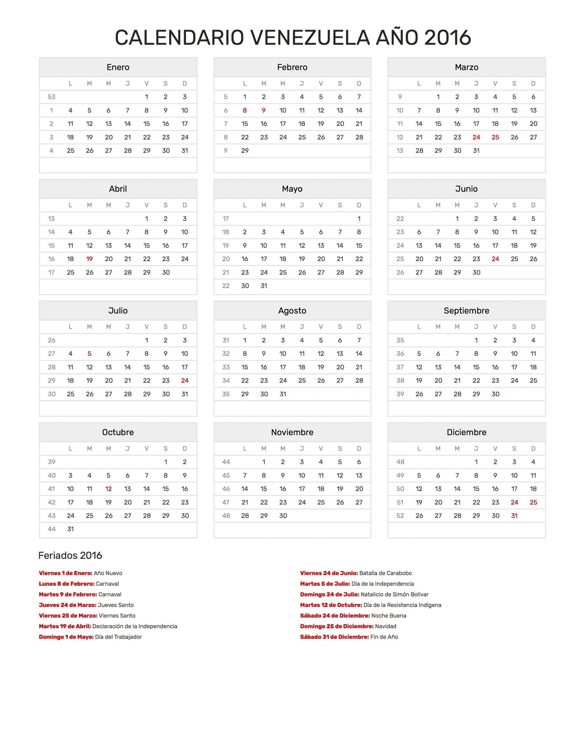 calendario venezuela 2016