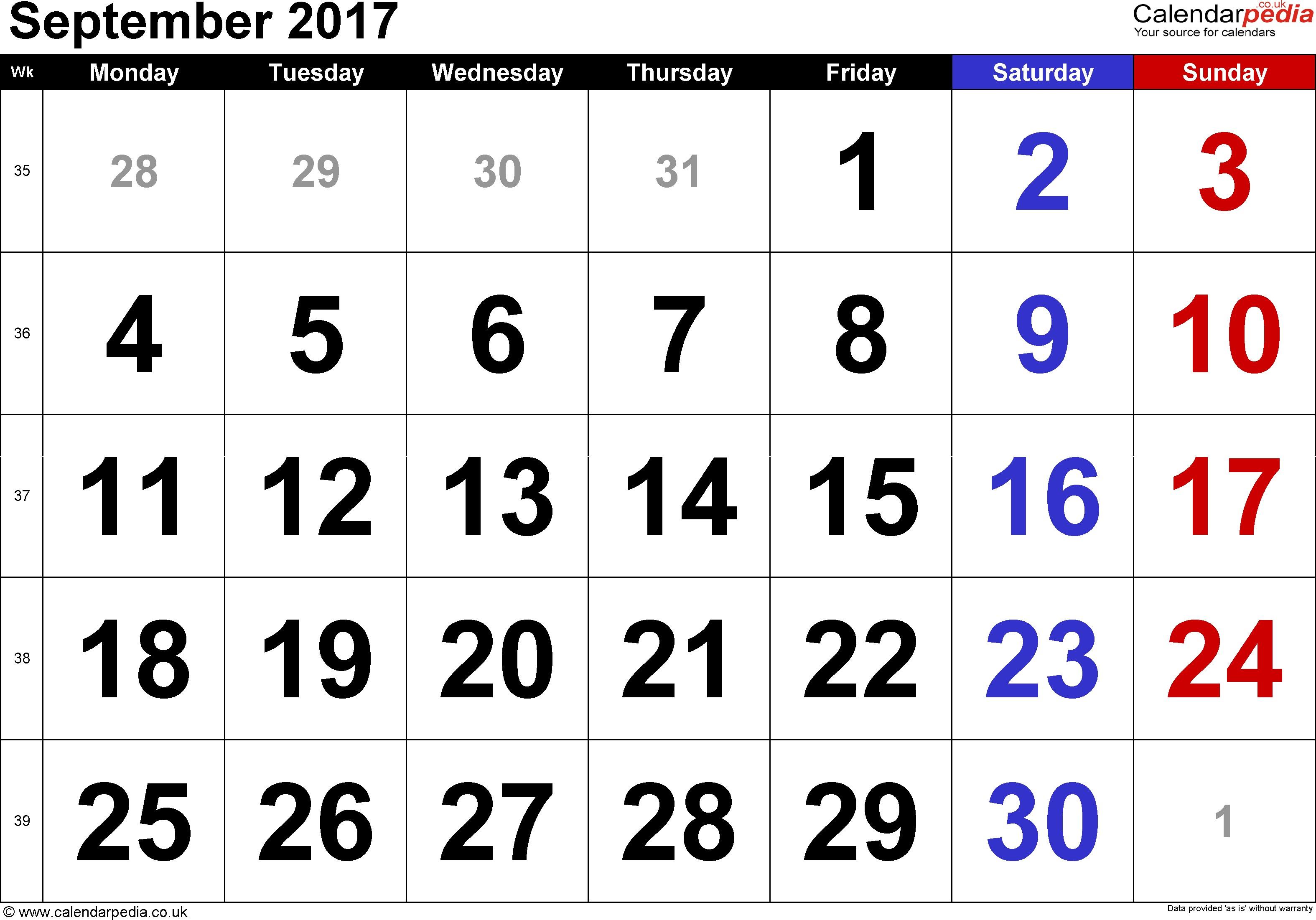 september 2017 calendar uk monthly calendar printable