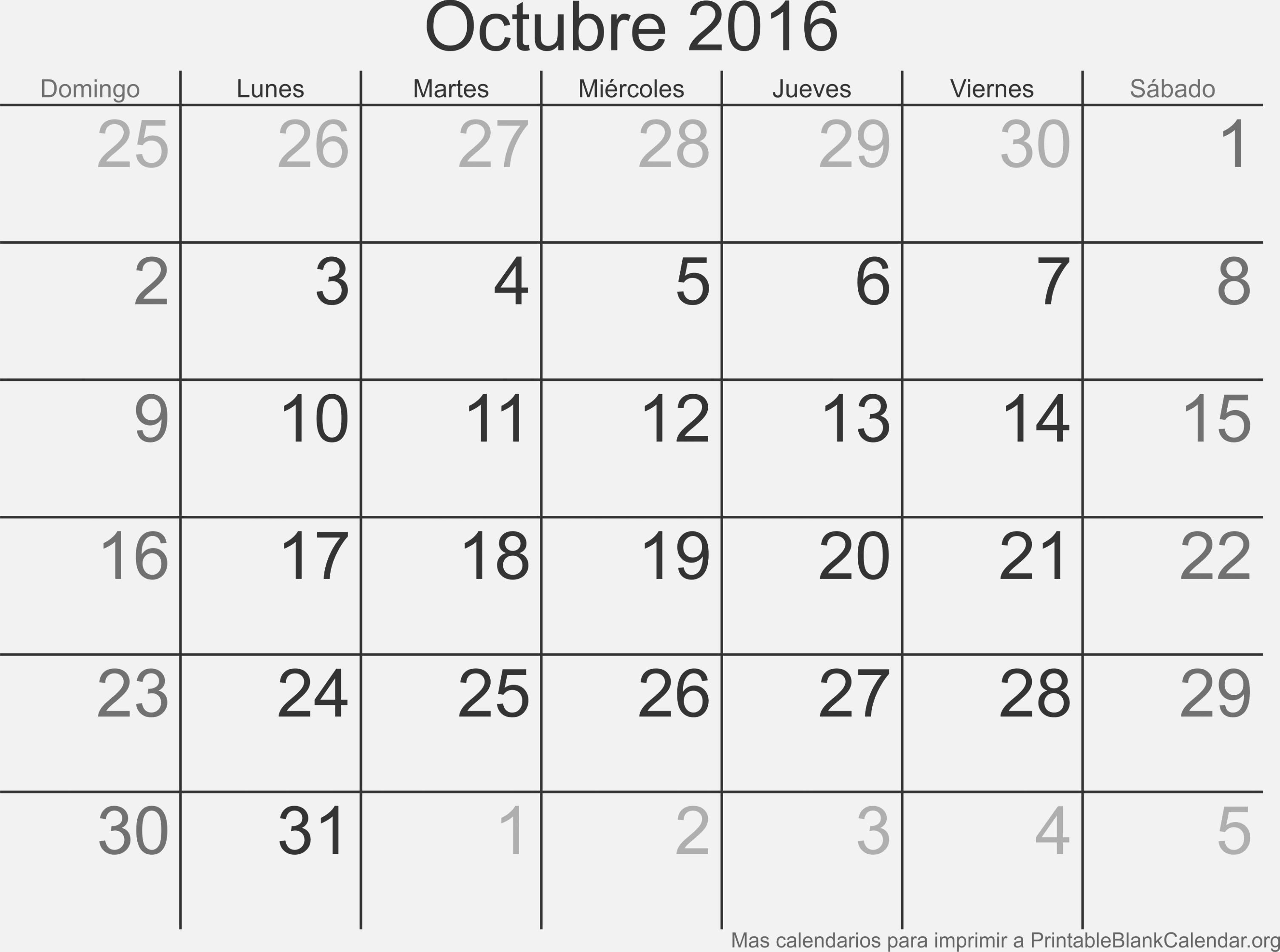 Calendario 2016 España Para Imprimir Más Caliente Best Calendario Del Mes De Octubre Image Collection