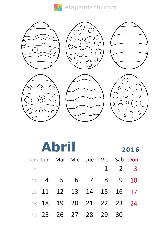 Colorear Abril 2016 Calendario para imprimir y colorear