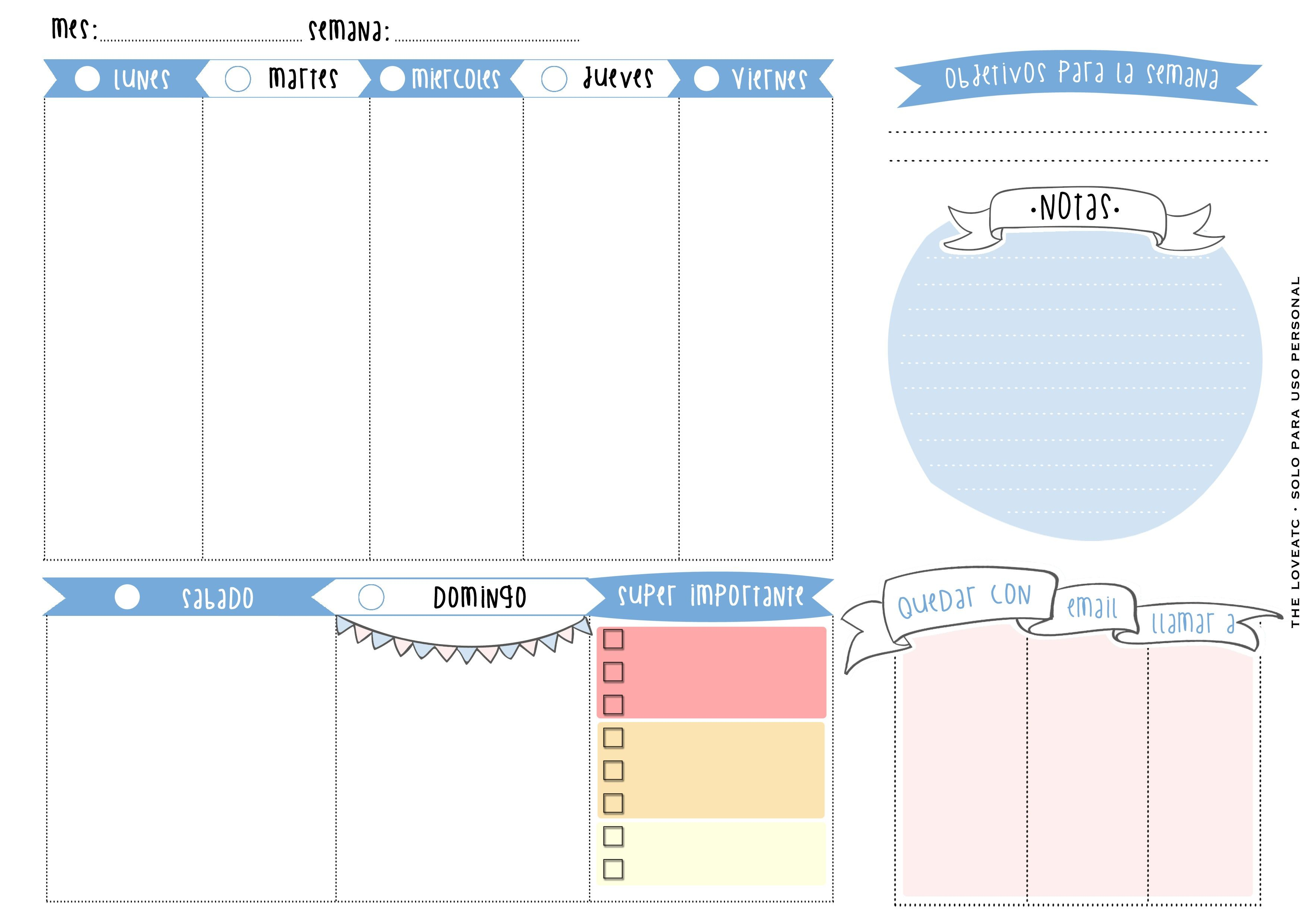 planificador semanal gratuito en varios idiomas Más Calendario Semanal Para Imprimir