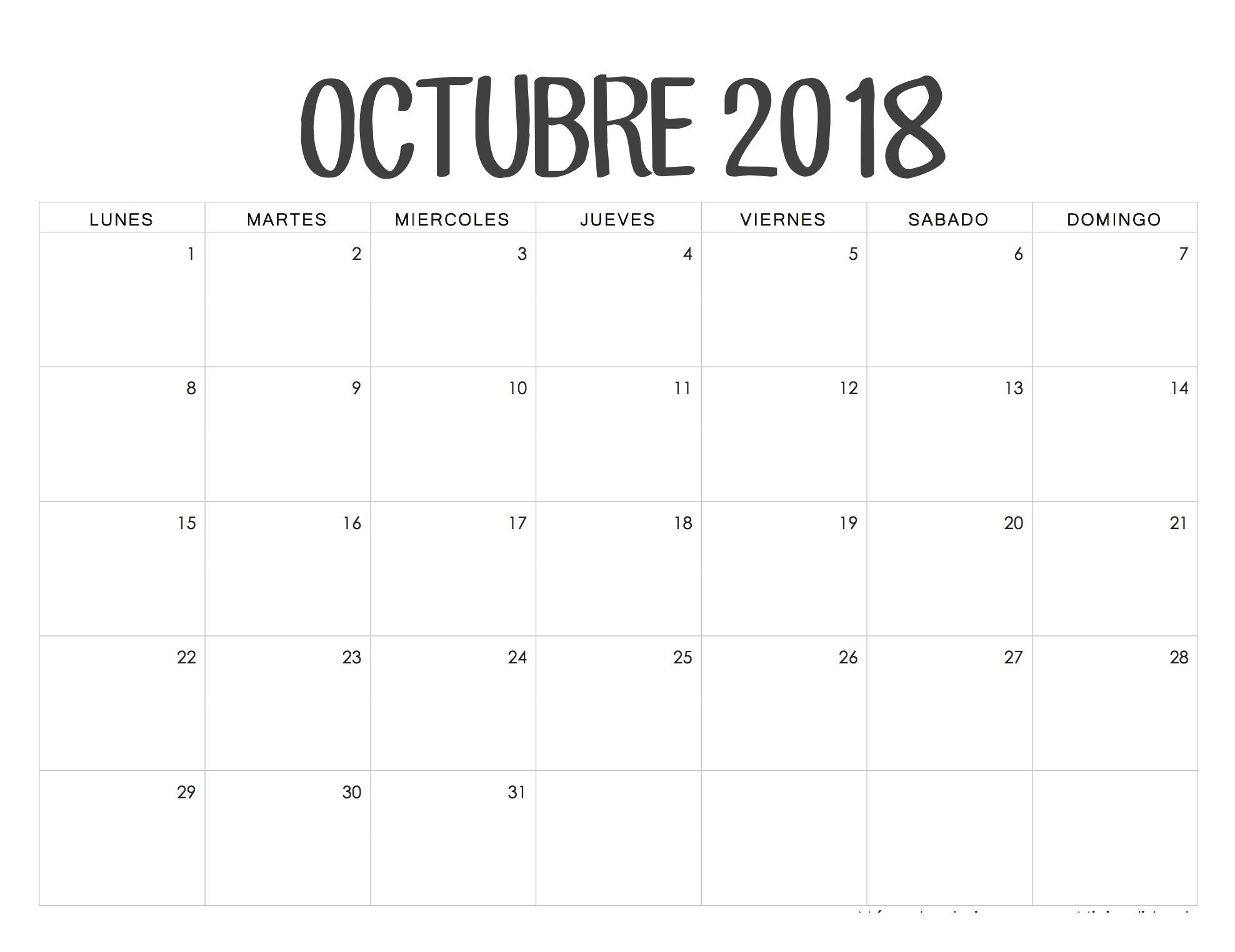 Calendario 2017 Para Imprimir Por Mes Abril Más Recientes Calendario Octubre 2018 Chile L Pinterest