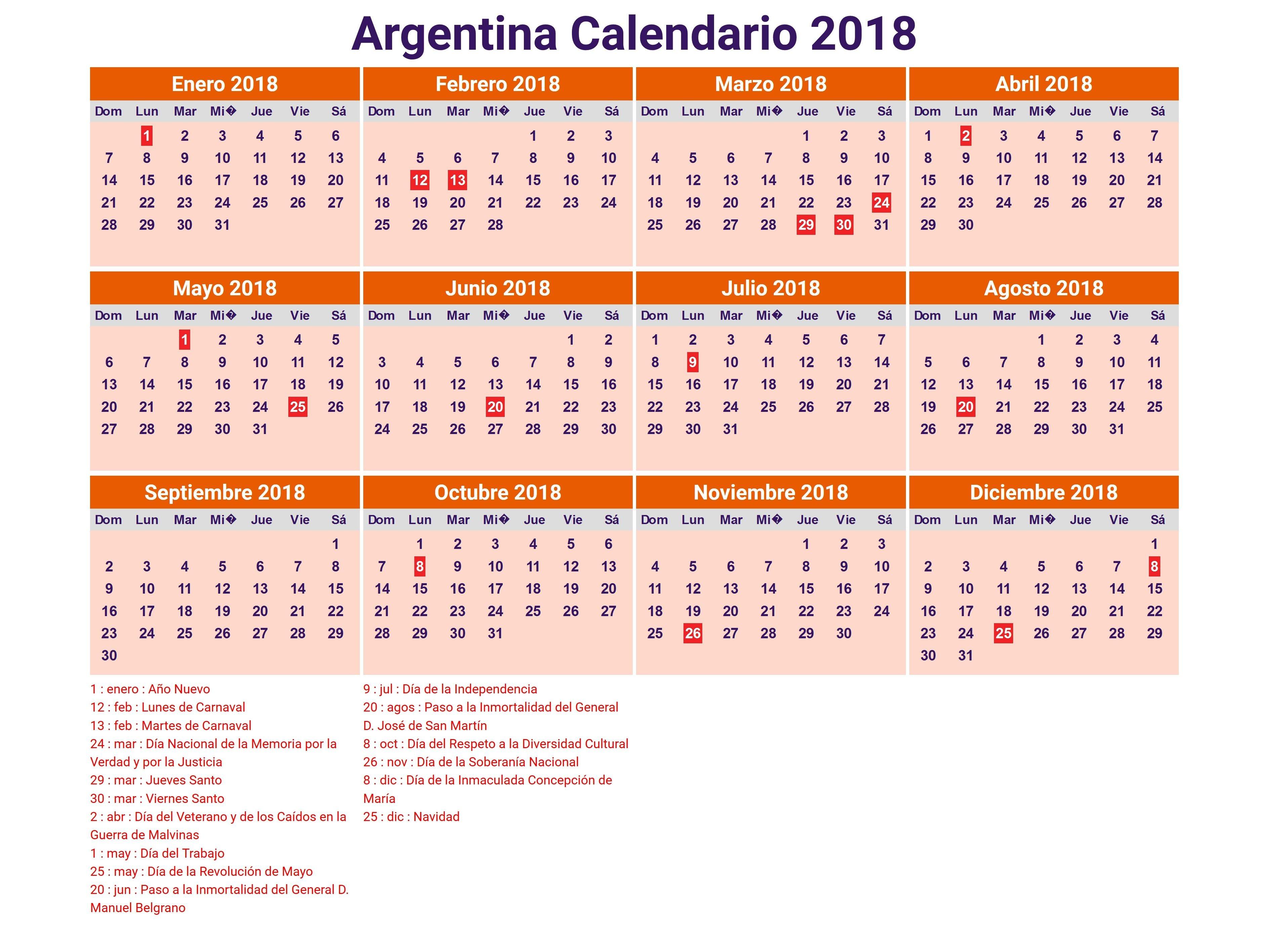 calendario 2018 para imprimir feriados Kordurorddiner