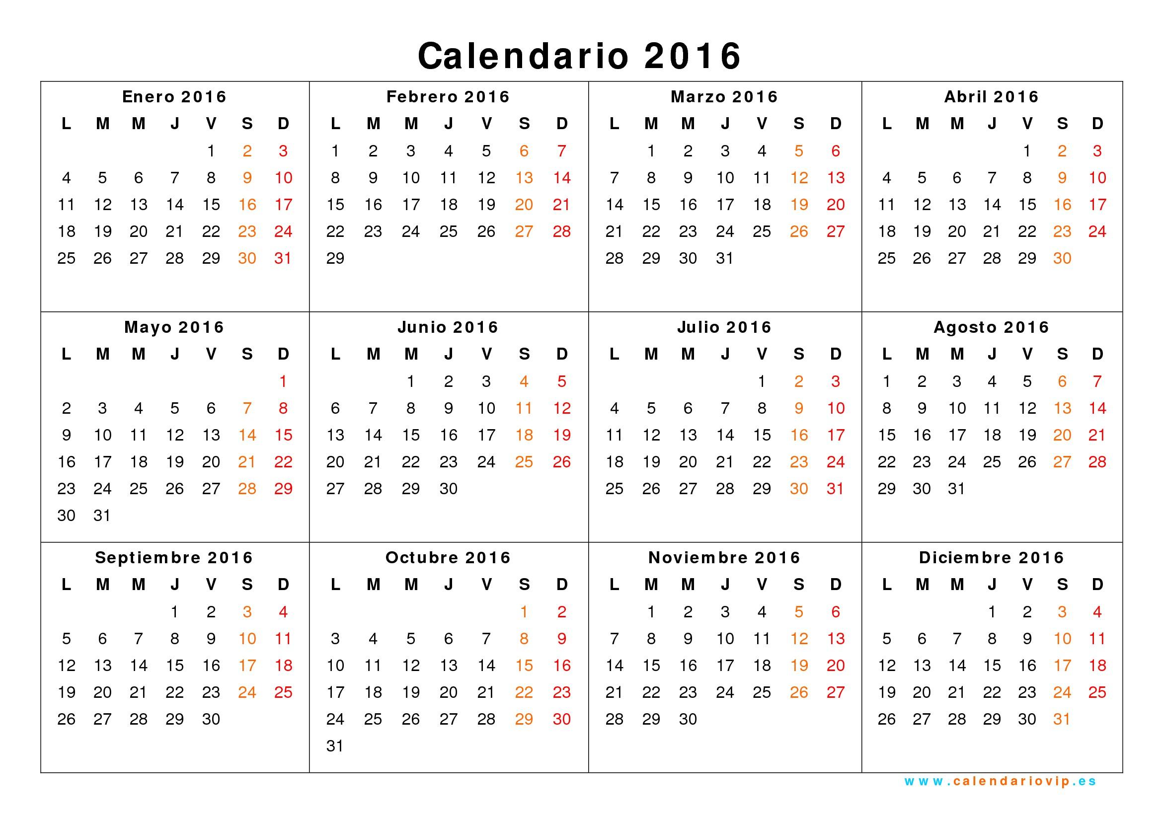 2016 calendario imprimible gratis 2019 2018 calendar printable