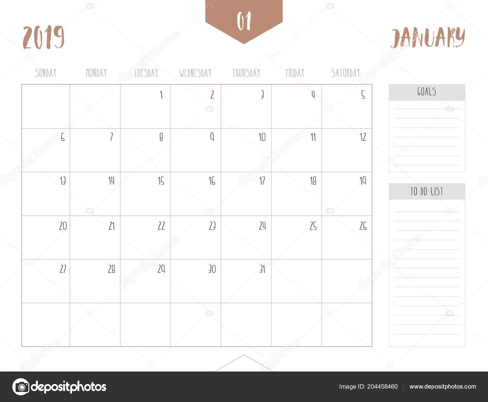 Vector Calendario 2019 Enero Estilo Simple Mesa Limpia Con Objetivos — Archivo Imágenes Vectoriales