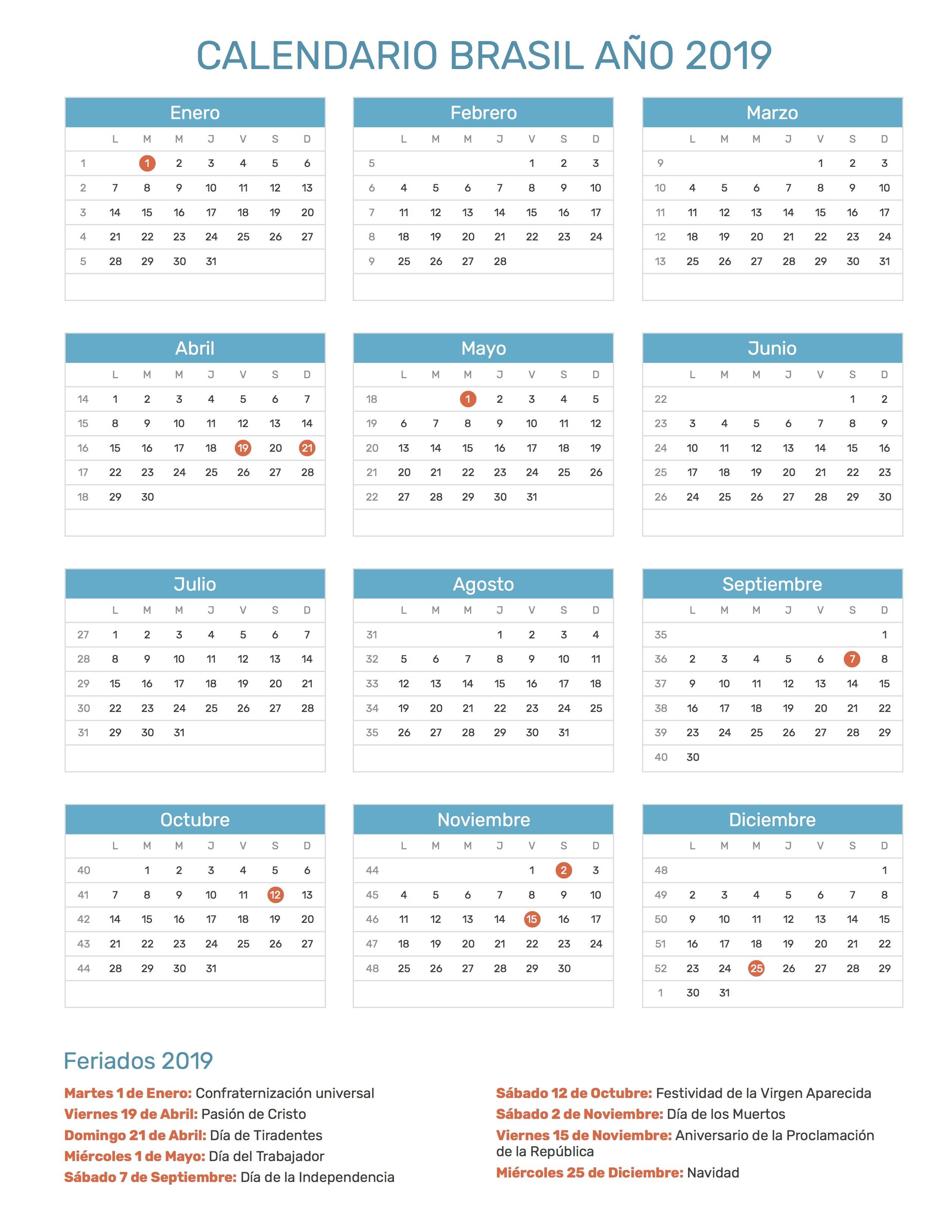 Calendario para Imprimir de Brasil a±o 2019 con das festivos