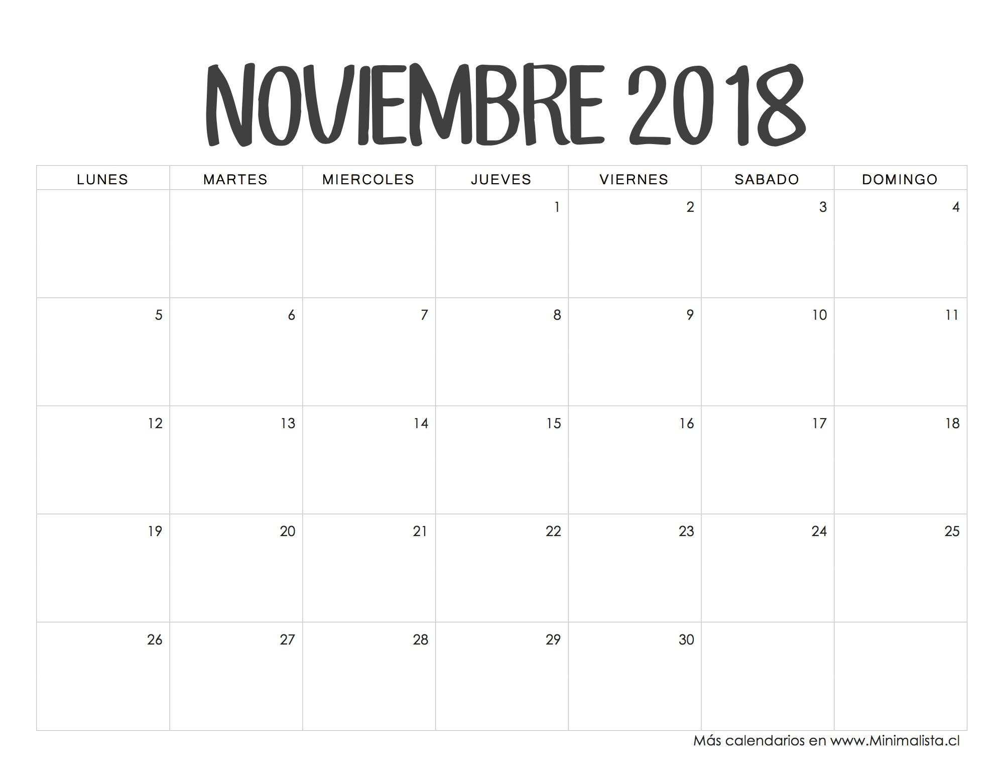 Calendario Noviembre 2018 Printables Pinterest