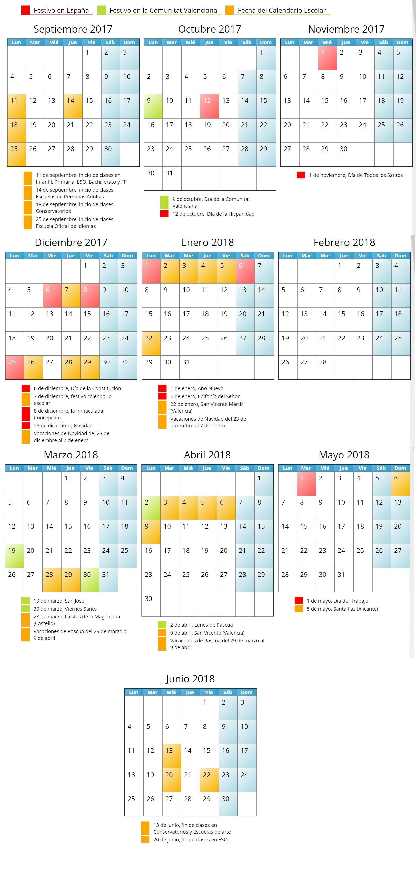 CALENDARIO ESCOLAR 2017 – 2018 UNITAT VALENCIANA NO SE INCLUYEN LOS DAS 14 Y 15 DE MARZO DE LA CIUDAD DE VALENCIA