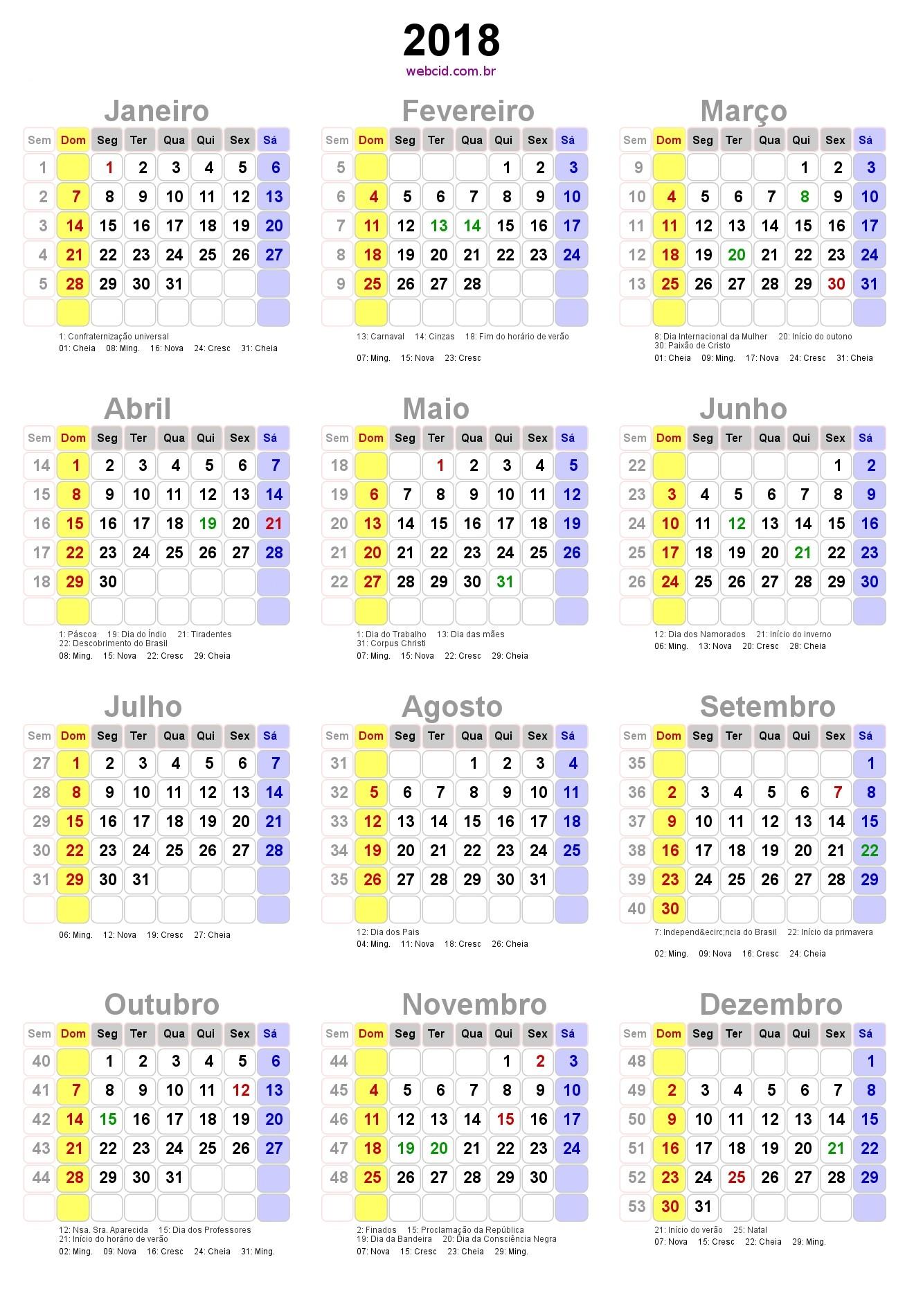 Calendário 2018 Feriados Nacionais E Fases Da Lua Brasil Calend rio 2018