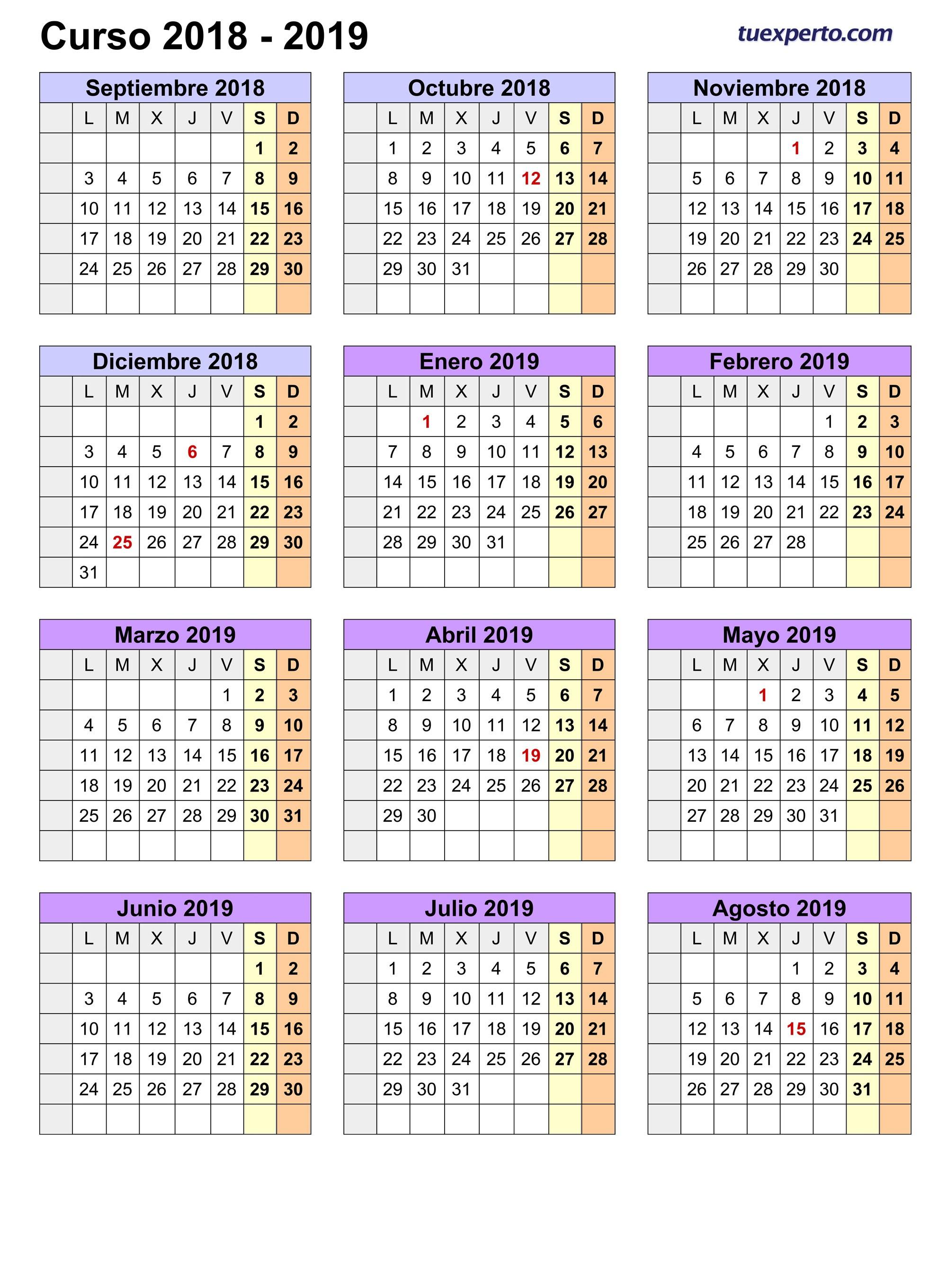 Calendario escolar 2018 2019 más de 100 plantillas e imágenes para