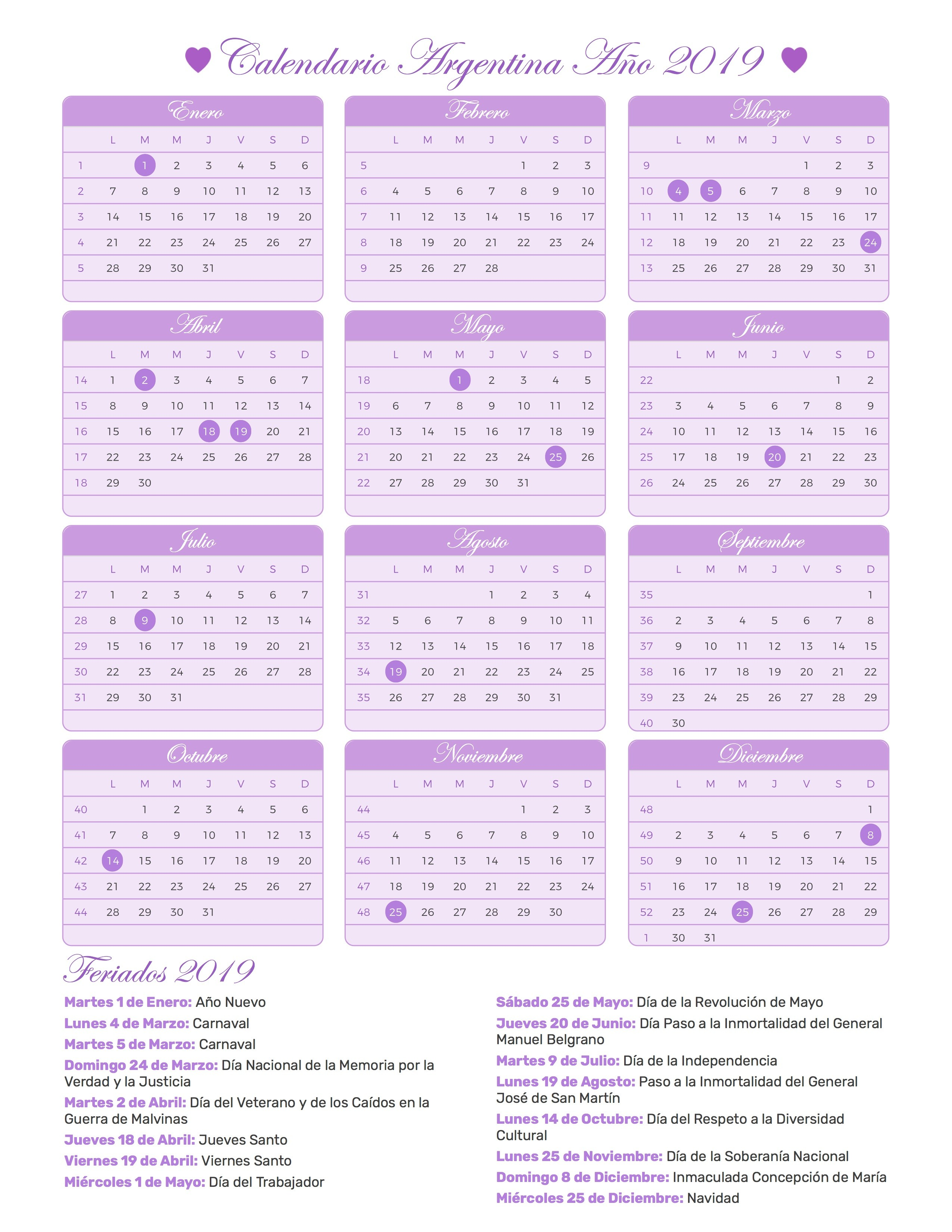 Calendario para Imprimir de Argentina con feriados 2019